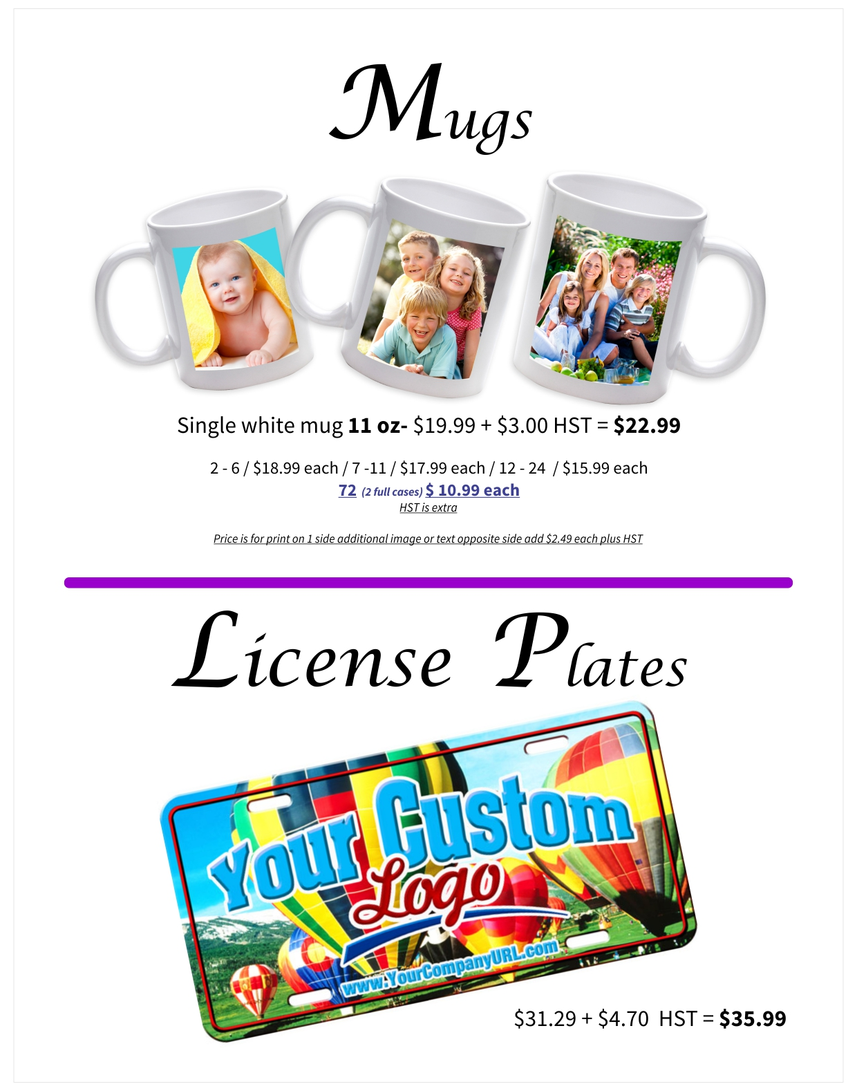 Mugs and License Plates
